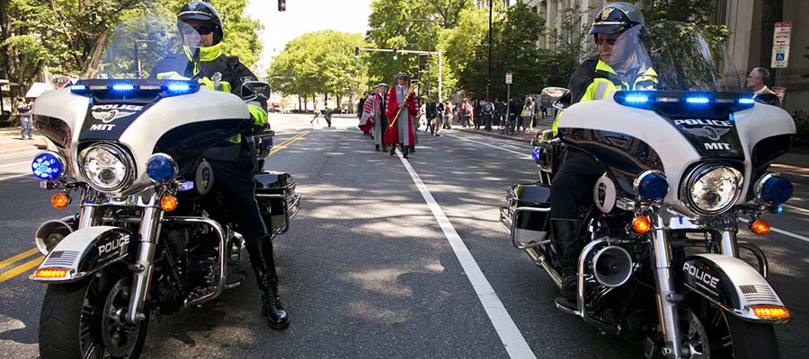MIT Police lead the Commencement Procession on Massachusetts Avenue; photo: Jake Belcher