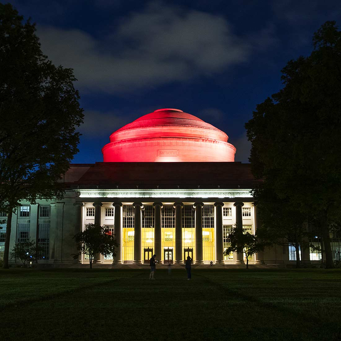 Great Dome lit red to honor the 2020 graduates